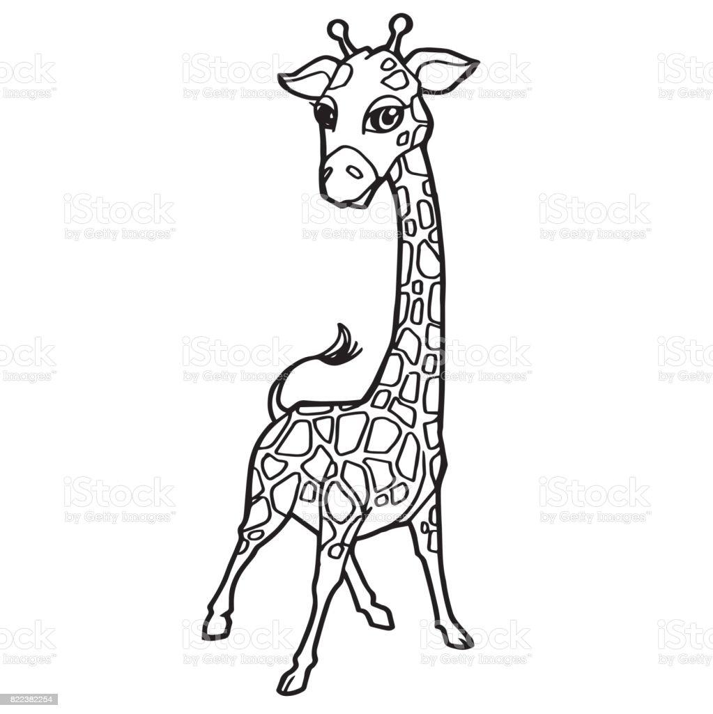 Cartoon Cute Giraffe Coloring Page Vector Illustration Royalty Free Stock Art