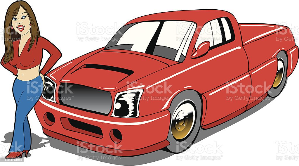 Cartoon Cute Girl with Pickup Truck vector art illustration