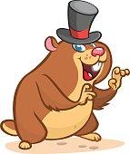 Cartoon cute groundhog in hat. Groundhog day illustration