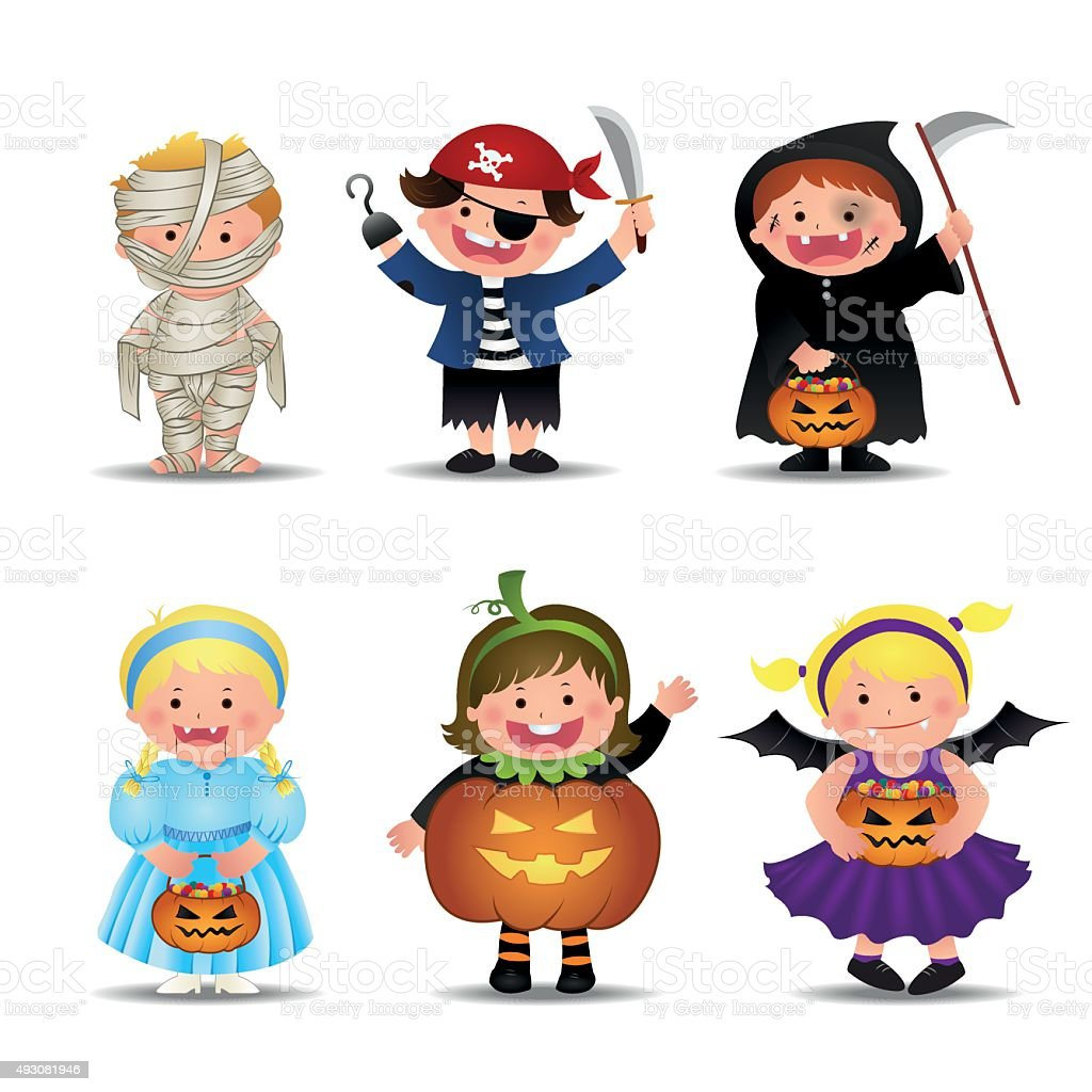 Cartoon Cute Halloween Kids  In Trick Or Treat Costumes vector art illustration