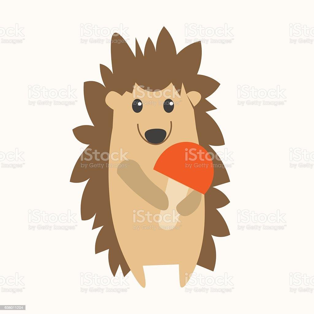 Cartoon Cute Hedgehog. Vector vector art illustration