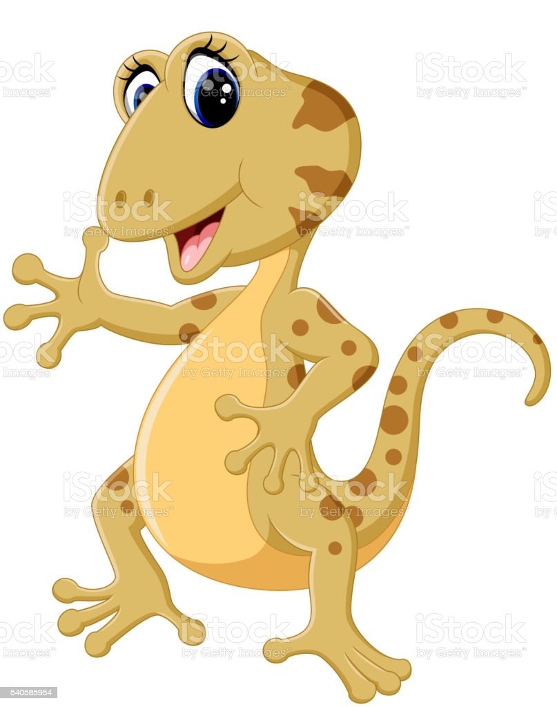 Cartoon cute lizard vector art illustration