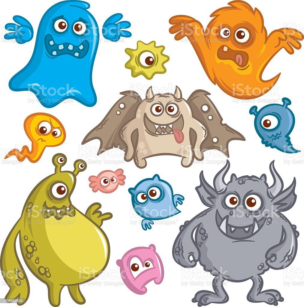 Cartoon Cute Monsters Sticker Set vector art illustration