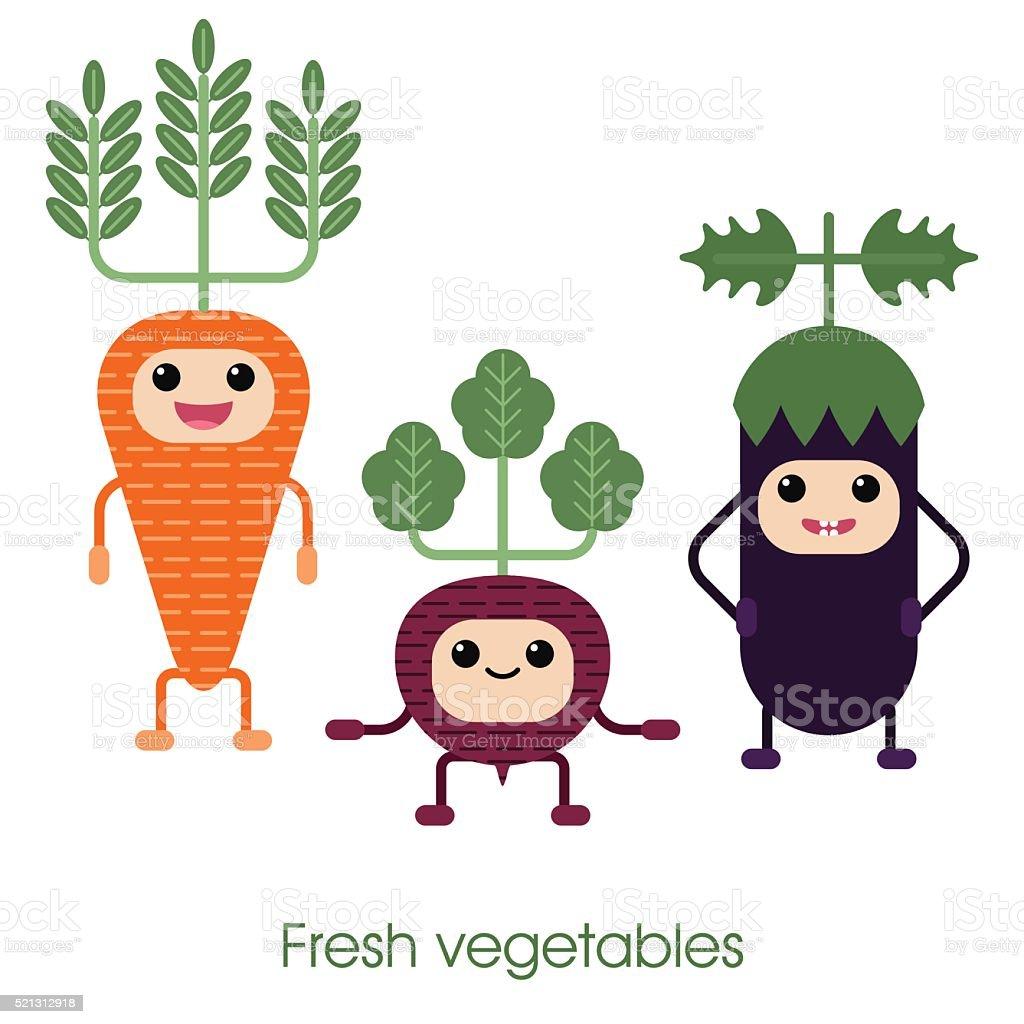 Cartoon Cute smiling vegetables - carrots, eggplant and beets. vector art illustration