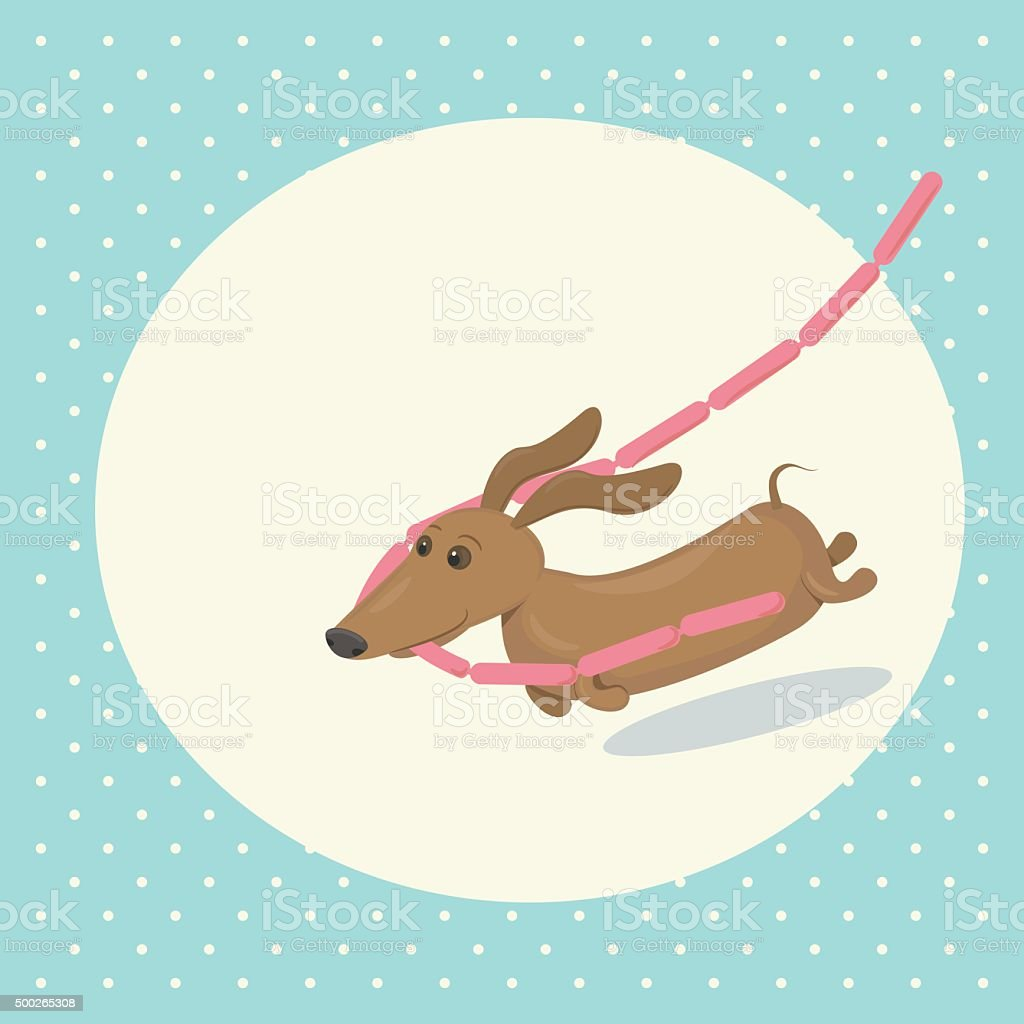 Cartoon dachshund stealing sausages vector art illustration