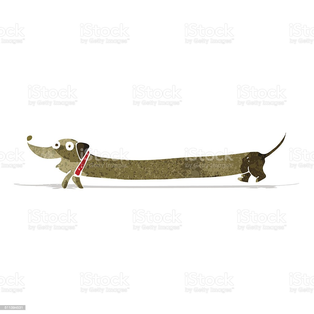 cartoon dachshund vector art illustration