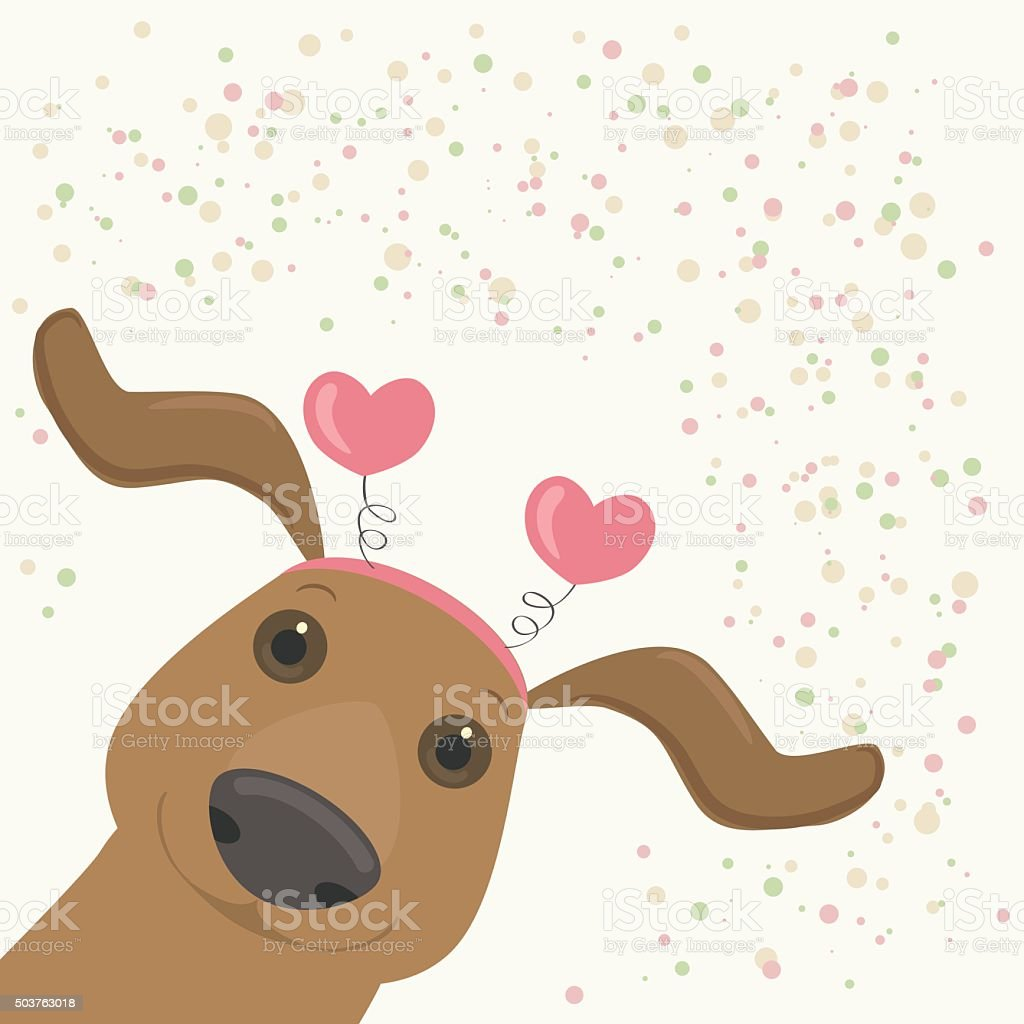 Cartoon dachshund with hearts vector art illustration