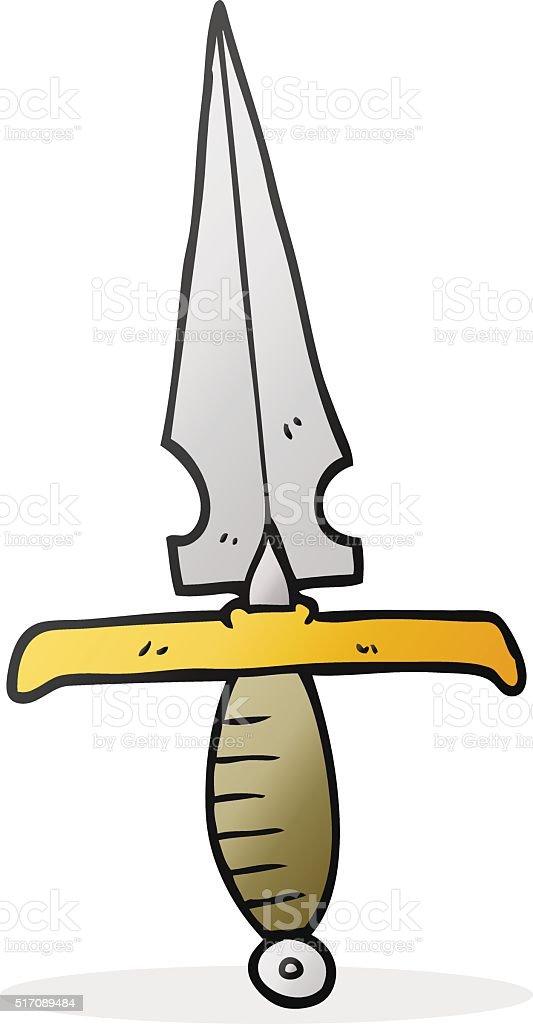 cartoon dagger vector art illustration