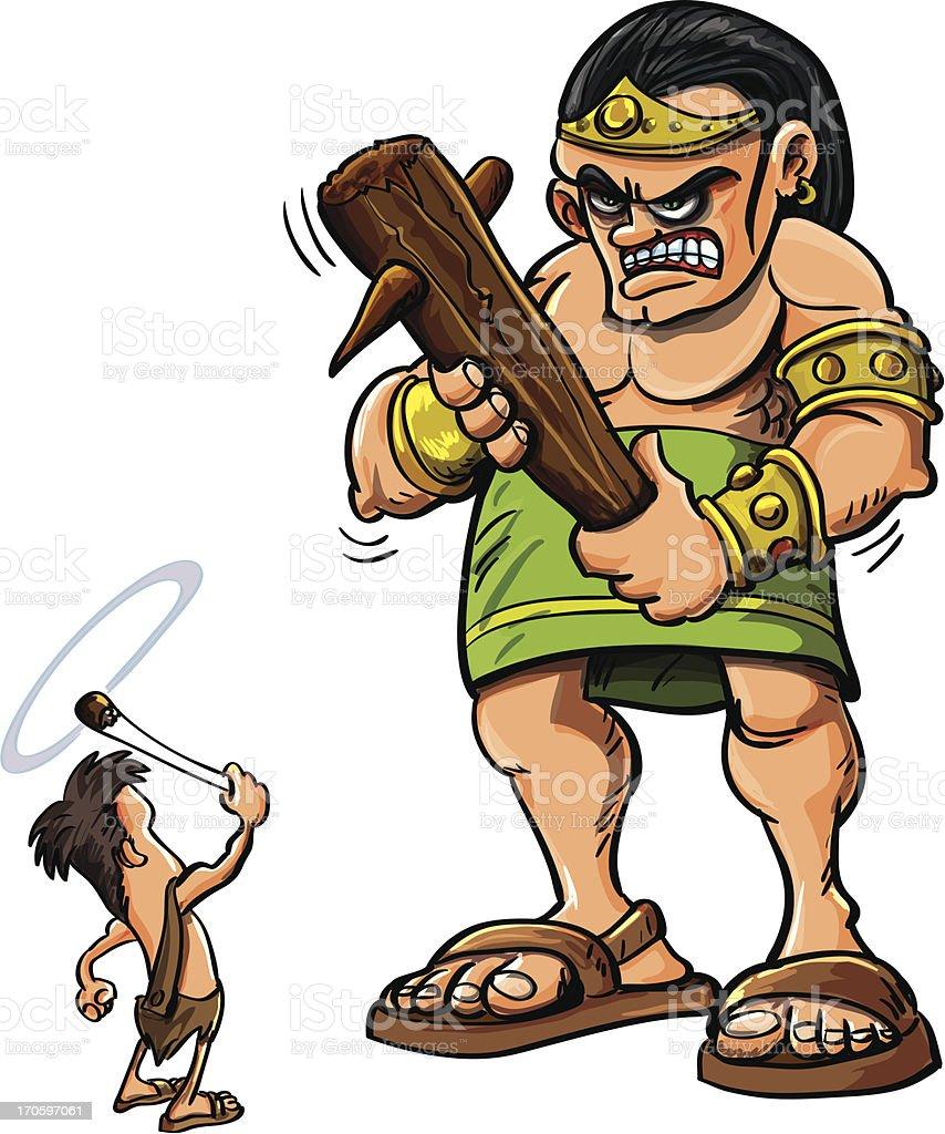 Cartoon David and Goliath vector art illustration