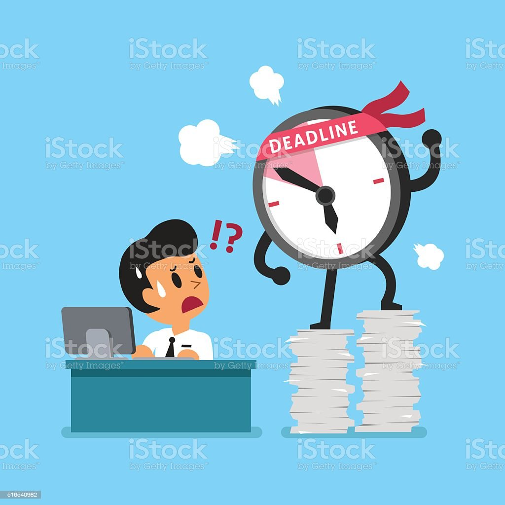 Cartoon deadline clock character and businessman vector art illustration