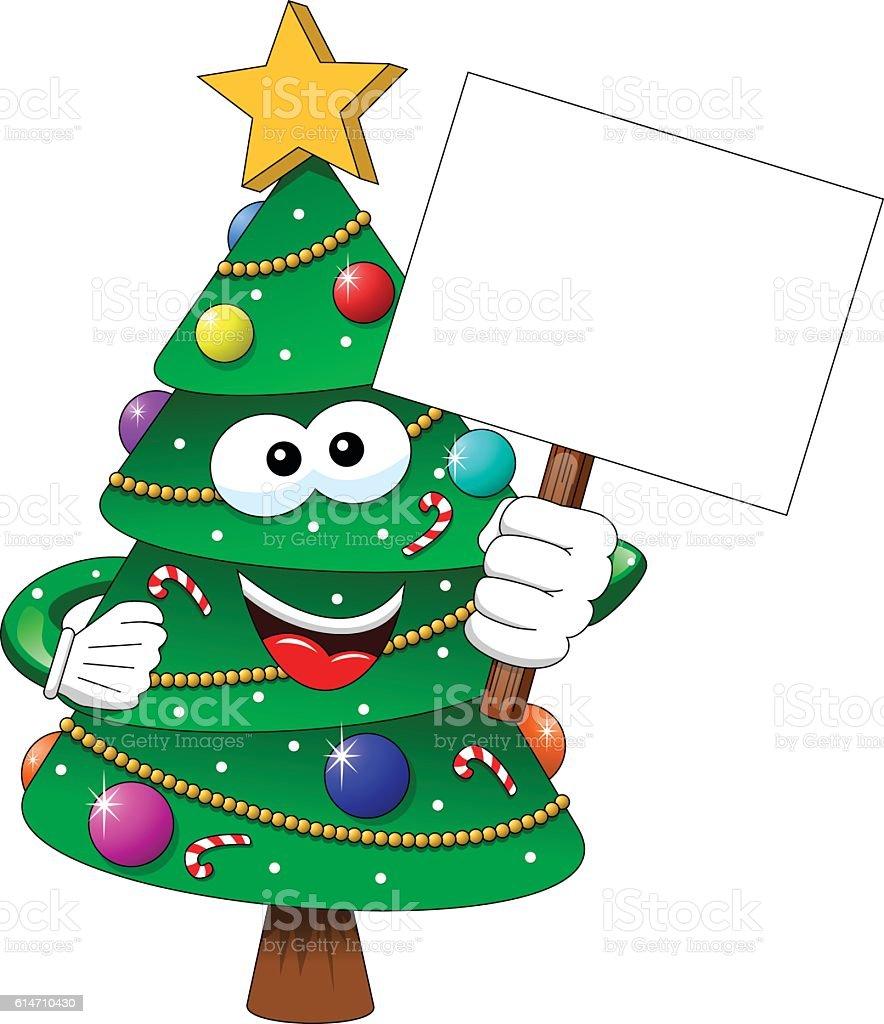 Cartoon decorated xmas tree blank banner isolated vector art illustration