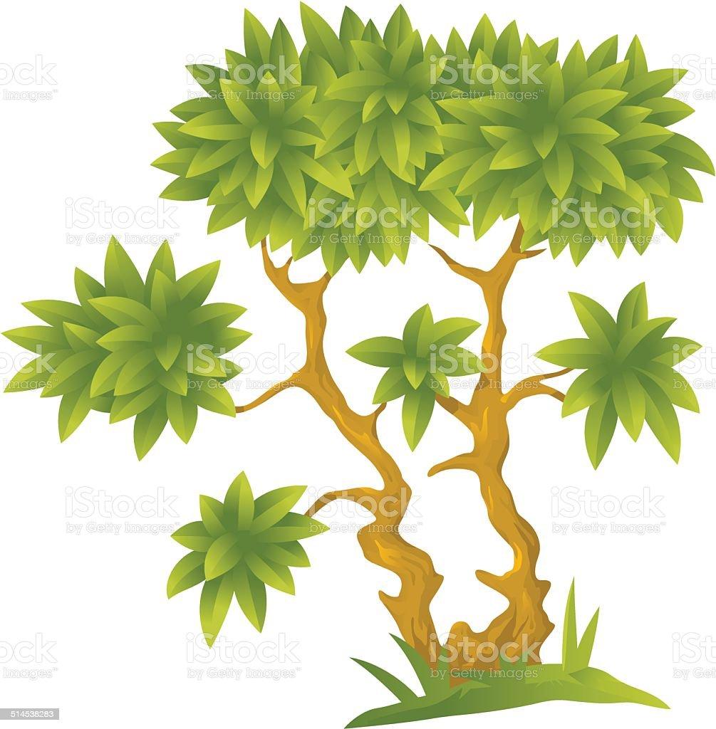 Cartoon Decorative Tree vector art illustration
