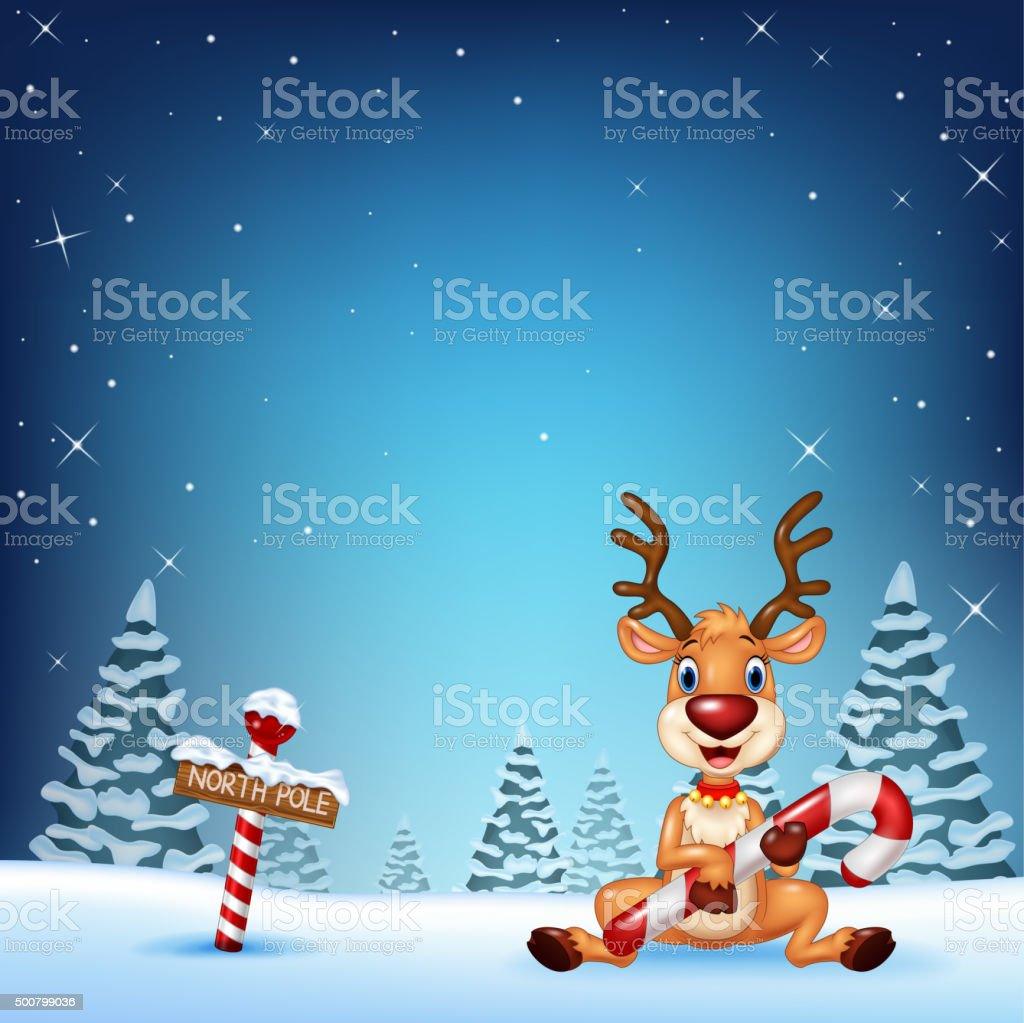 Cartoon deer holding Christmas candy with winter background vector art illustration