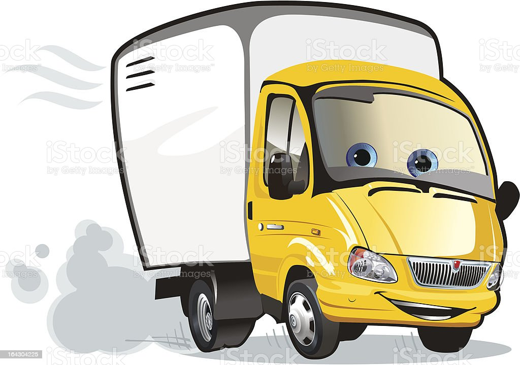 Cartoon delivery / cargo truck vector art illustration