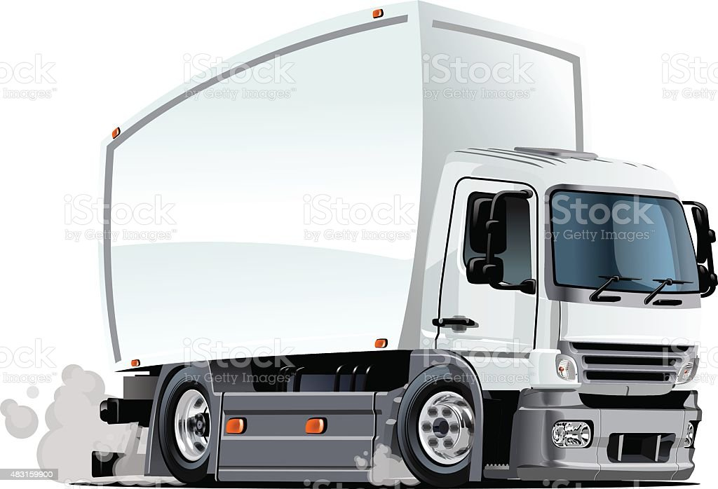 Cartoon delivery or cargo truck vector art illustration