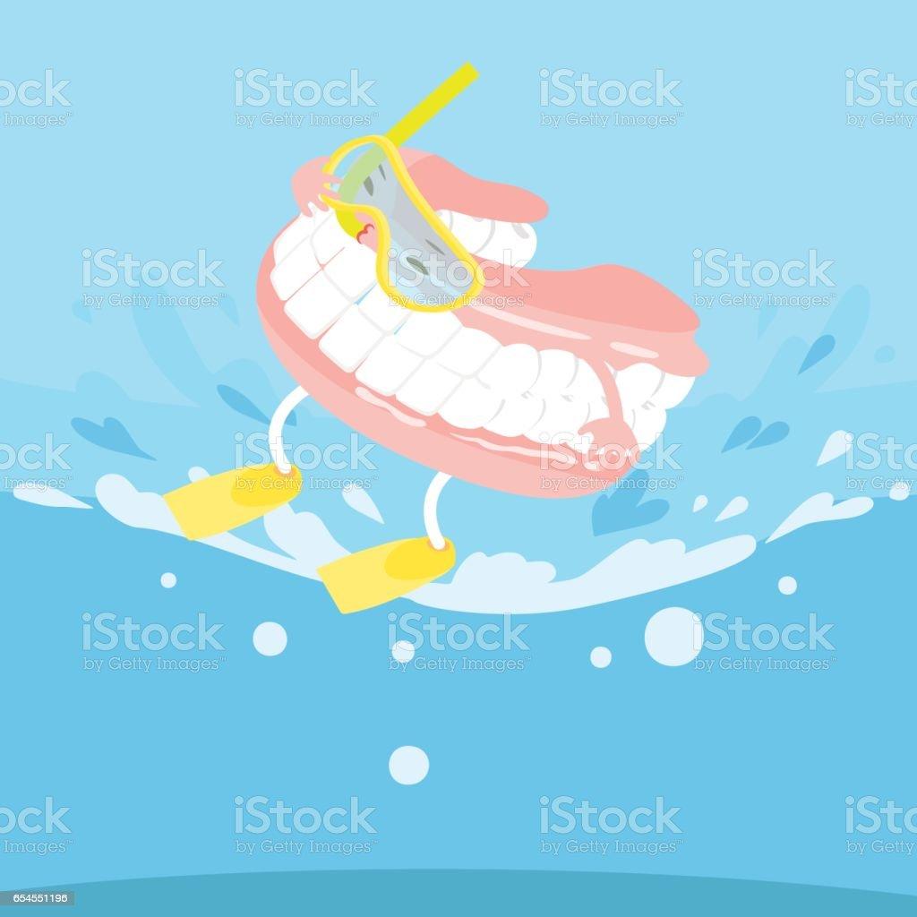 cartoon denture with surfing vector art illustration