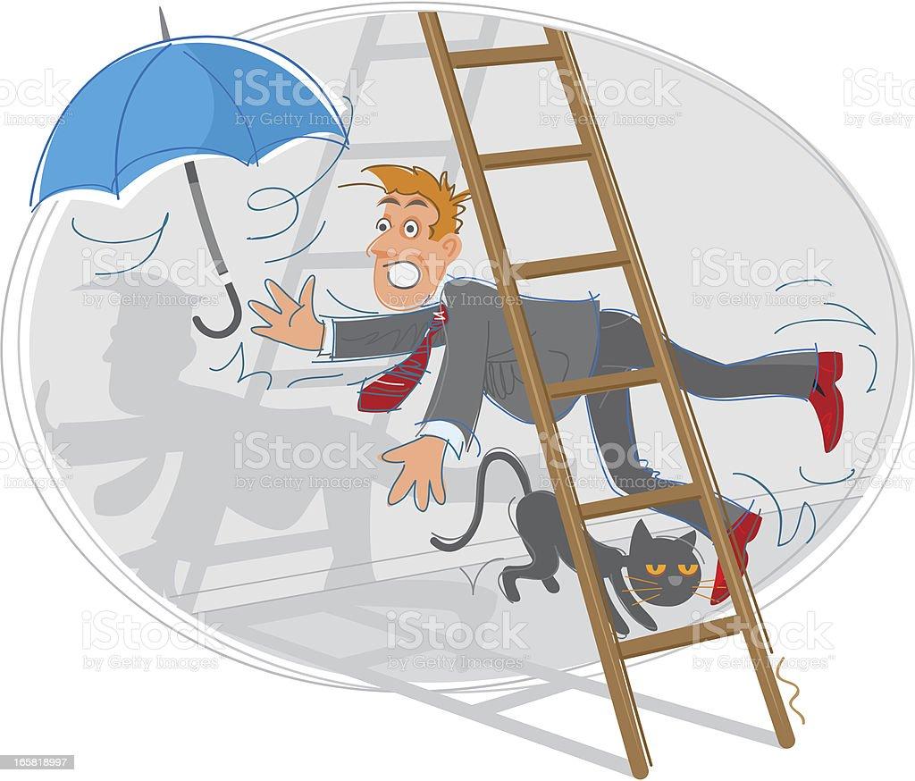 Cartoon depicting several superstitions vector art illustration
