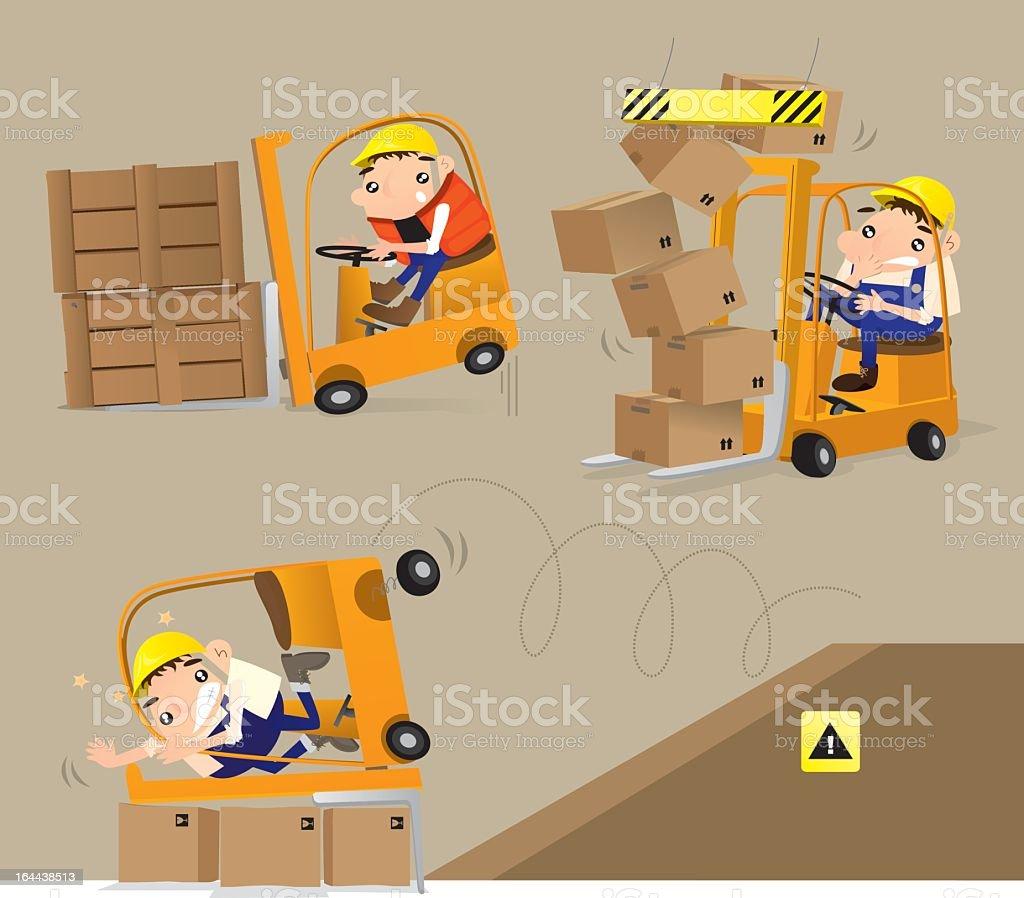 Cartoon depiction of a careless worker vector art illustration