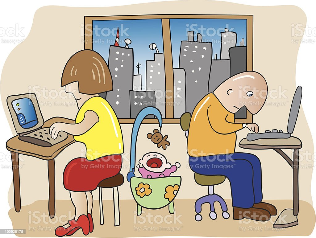 A cartoon depiction of a family working on computers vector art illustration
