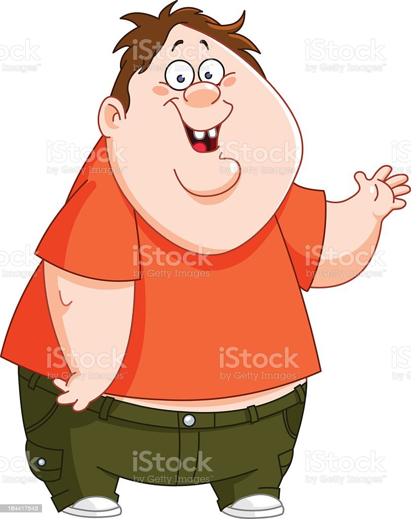 Cartoon depiction of a fat kid whose clothes do not fit vector art illustration