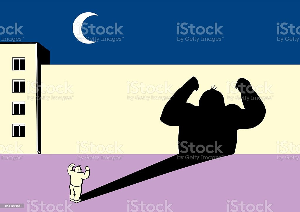 A cartoon depiction of a guy making his shadow look strong vector art illustration