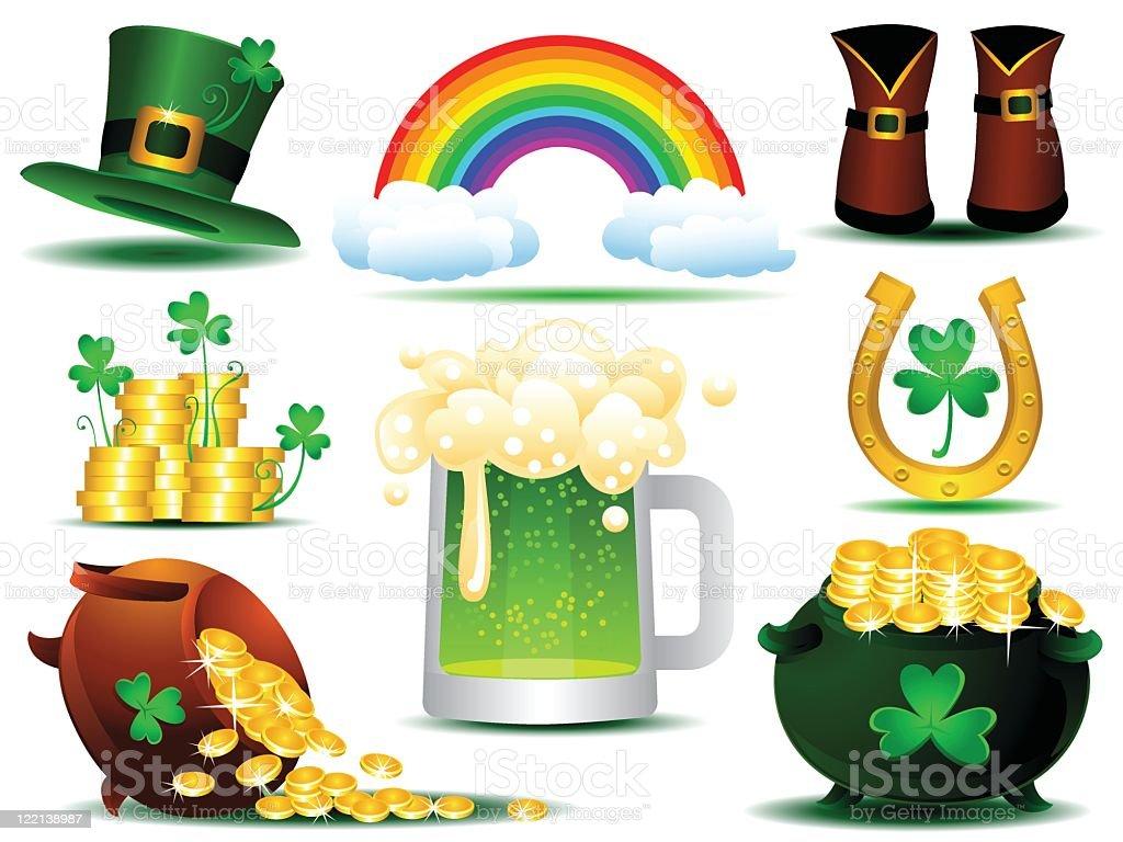 A cartoon depiction of a Irish Saint Patrick's day icons royalty-free stock vector art