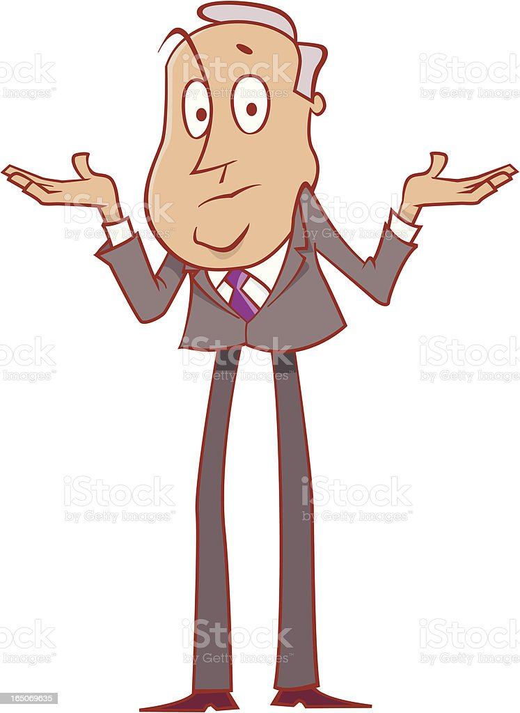A cartoon depiction of a man not knowing something royalty-free stock vector art