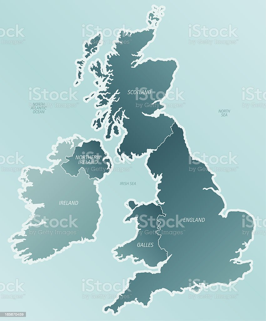 A cartoon depiction of a map of the United Kingdom royalty-free stock vector art