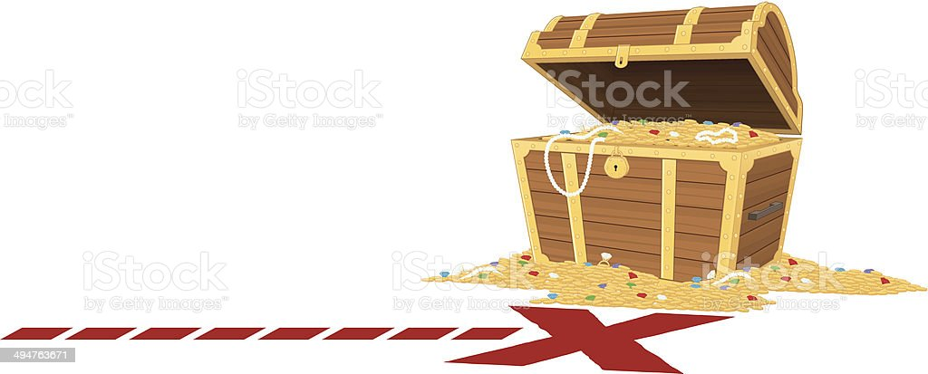 cartoon depiction of an opened treasure chest royalty-free stock vector art