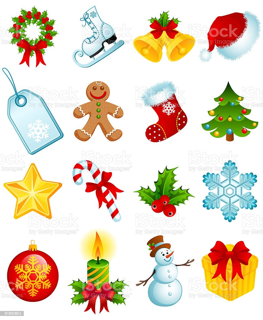 A cartoon depiction of Christmas icons royalty-free stock vector art