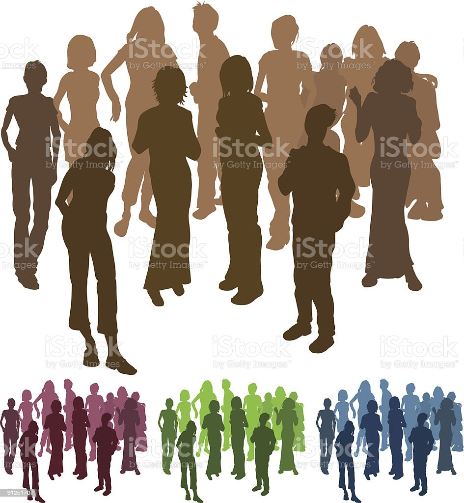 Cartoon depiction of friends at a party and elsewhere royalty-free stock vector art