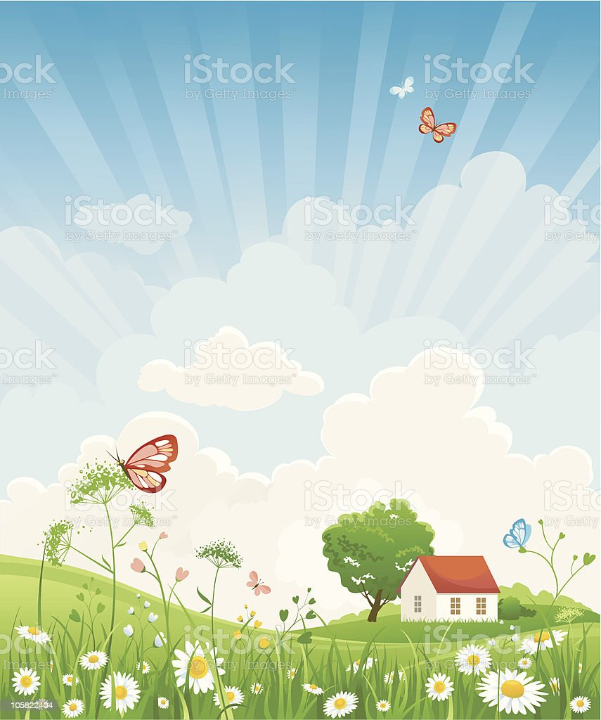 Cartoon depiction of house on summer day royalty-free stock vector art