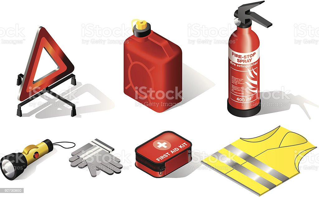 A cartoon depiction of items for car safety and health vector art illustration