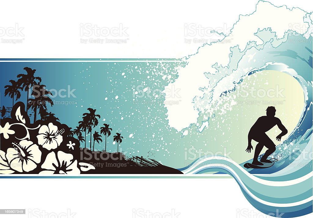 Cartoon depiction of man surfing wave and beach background vector art illustration