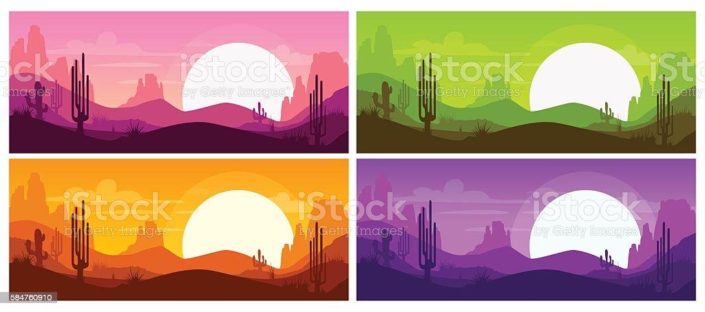 Cartoon desert landscape vector art illustration