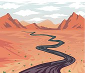 Cartoon Desert Road Leading to Canyon
