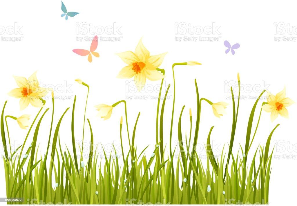 A cartoon design of a field of grass with butterflies vector art illustration