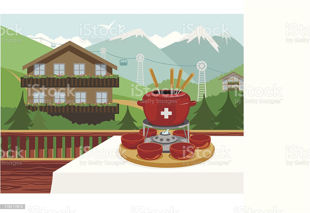 A cartoon design of Swiss fondue with a great view vector art illustration
