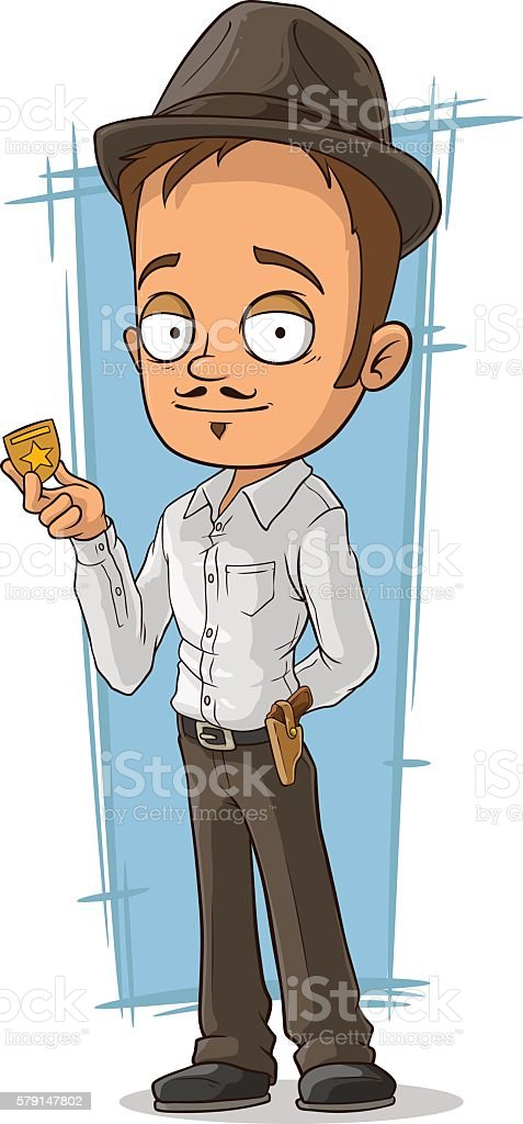 Cartoon detective with badge and hat vector art illustration