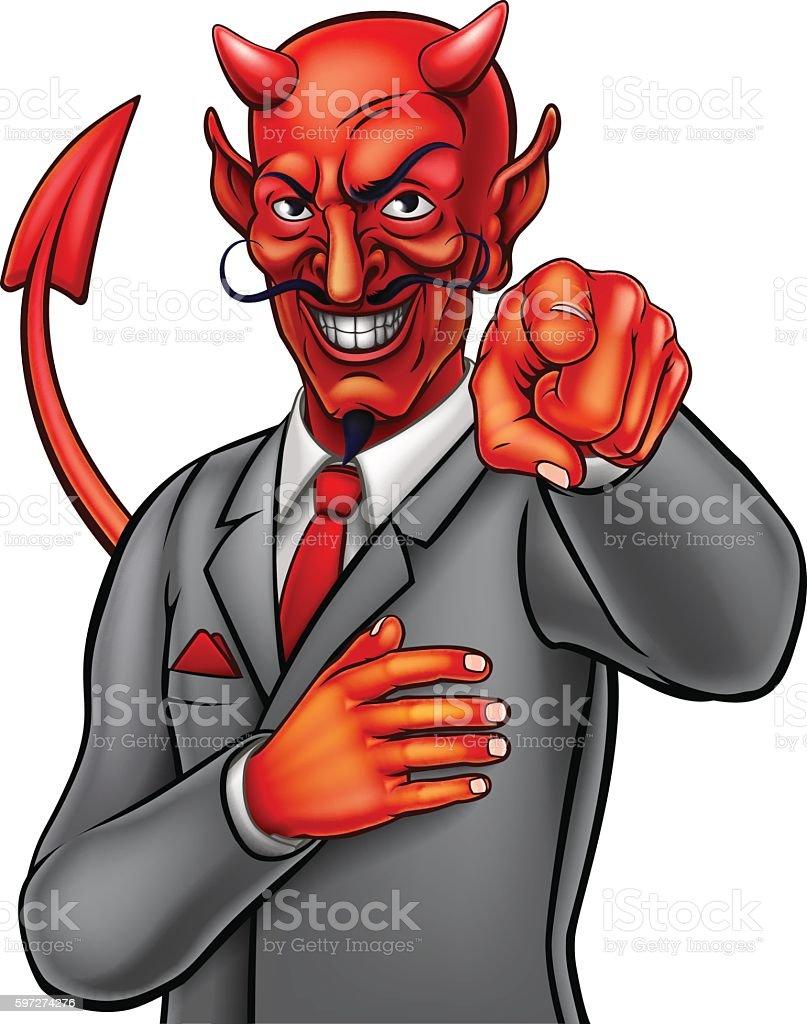 Cartoon Devil Businessman vector art illustration