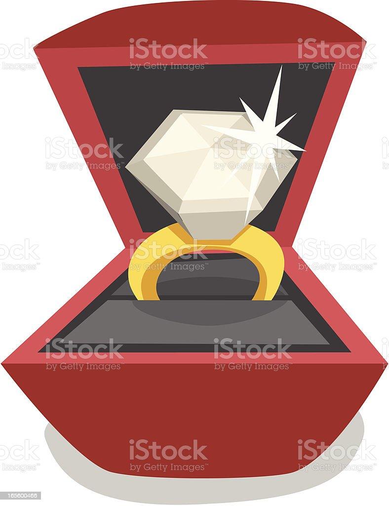 Cartoon Diamond Ring vector art illustration