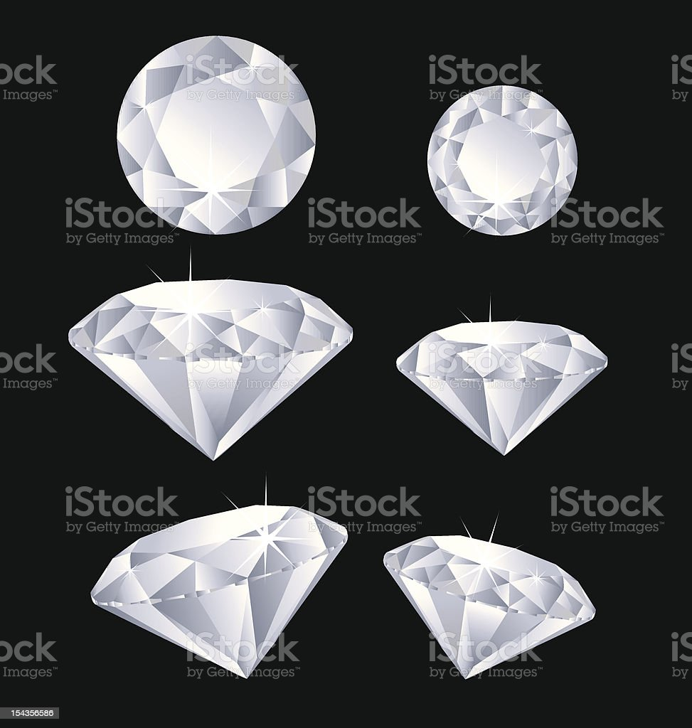 6 cartoon diamonds on a black background royalty-free stock vector art