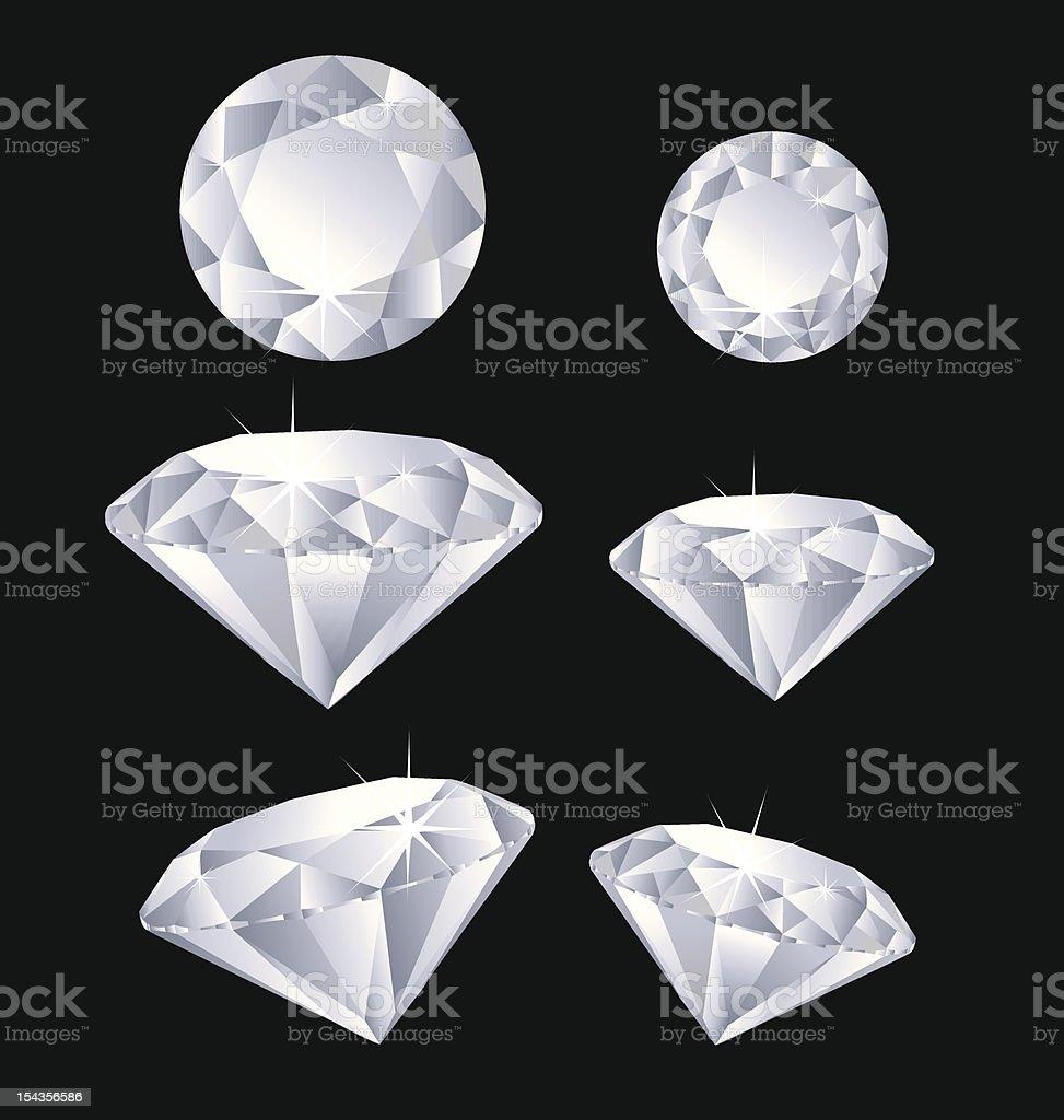6 cartoon diamonds on a black background vector art illustration