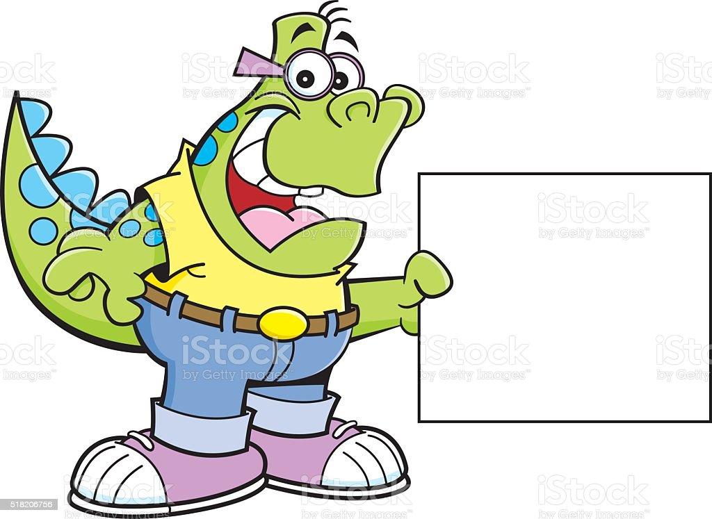 Cartoon Dinosaur Holding a Sign. vector art illustration