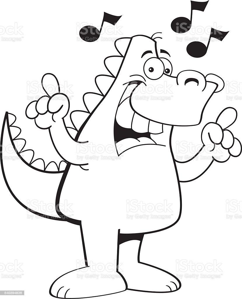cartoon dinosaur singing stock vector art 540394836 istock