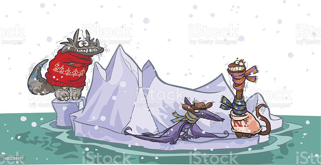 Cartoon dinosaurs in iceberg. royalty-free stock vector art