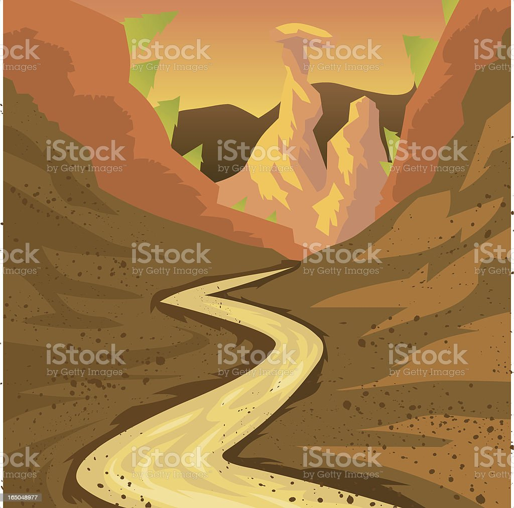 Cartoon Dirt Road Leading into Canyon vector art illustration