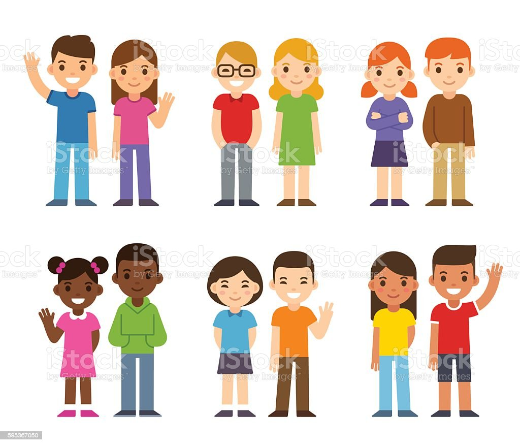 Cartoon diverse children vector art illustration