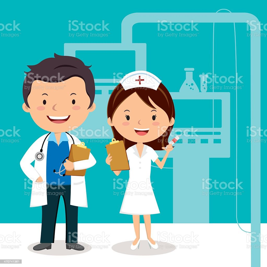 Cartoon doctor and nurse in office royalty-free stock vector art