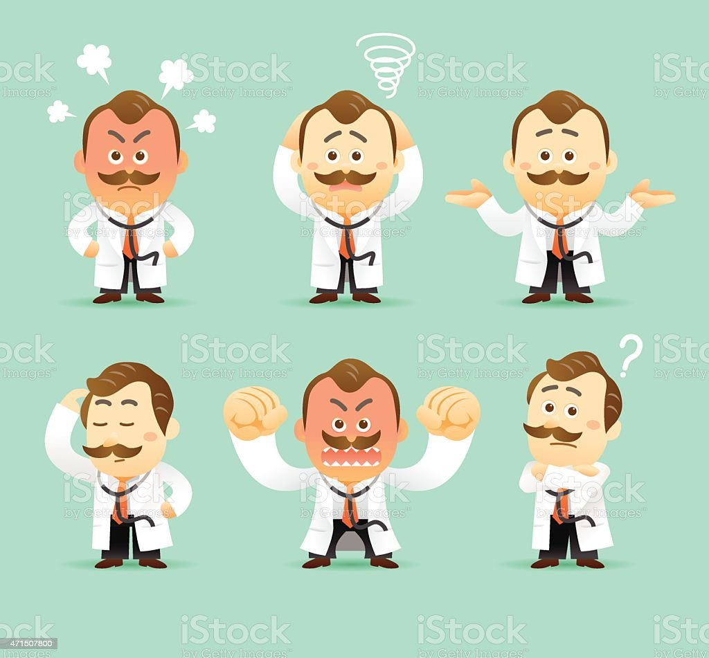 Cartoon doctor expressing different emotions vector art illustration